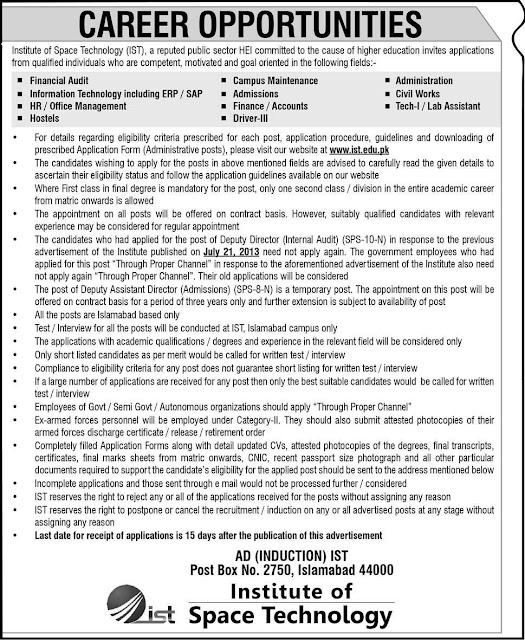 Jobs in Institute of Space Technology Pakistan