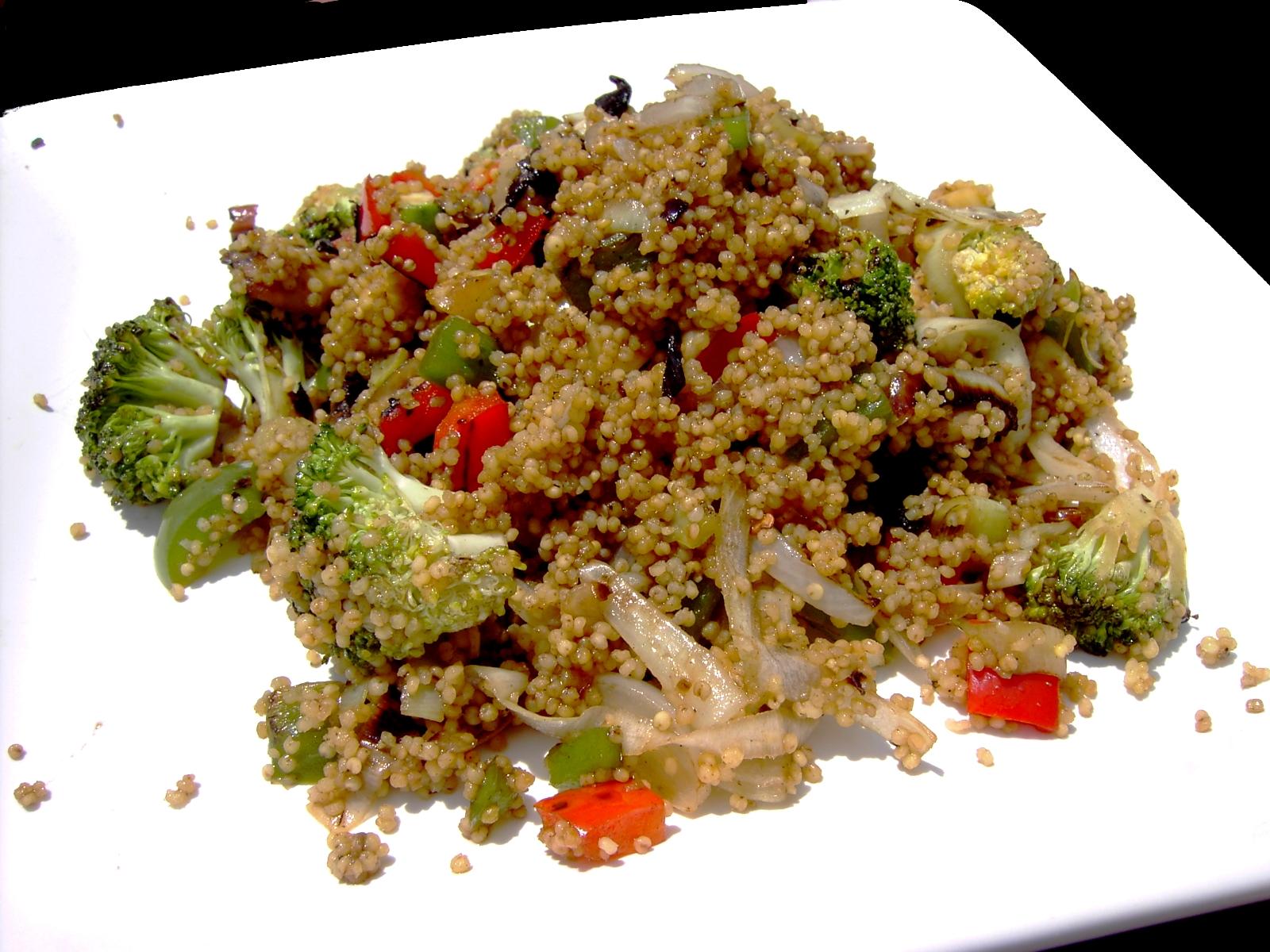 Comida para una: mijo y verduras salteados