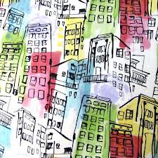 Tela edificios colores