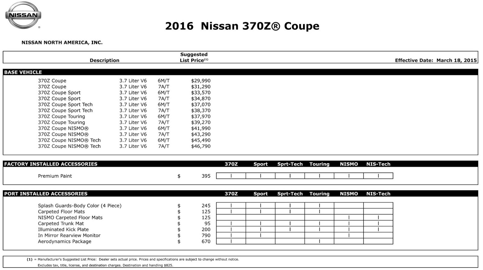 2016_Nissan_370Z_Coupe_MSRP_Chart 2016 nissan 370z coupe and 370z nismo get fake engine noise system nissan 350z wiring diagram at soozxer.org