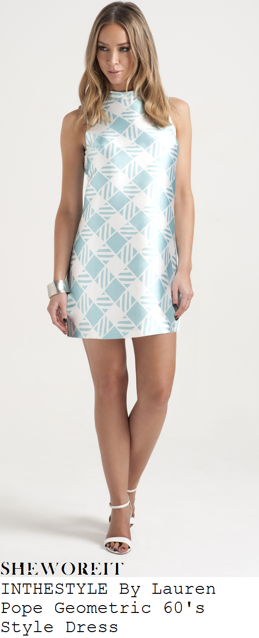 lauren-pope-mint-and-white-geometric-print-sleeveless-mini-dress-towie