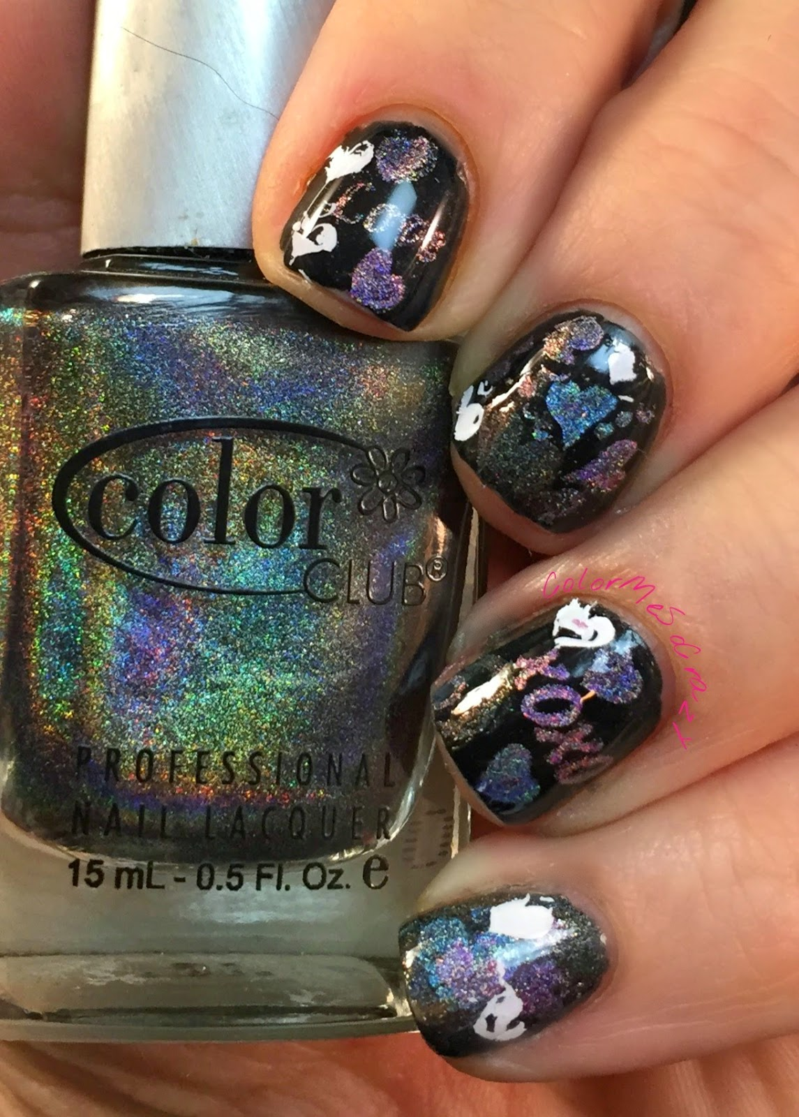 holo, color club holo, just rica, stamping, 52 week challenge, film nails