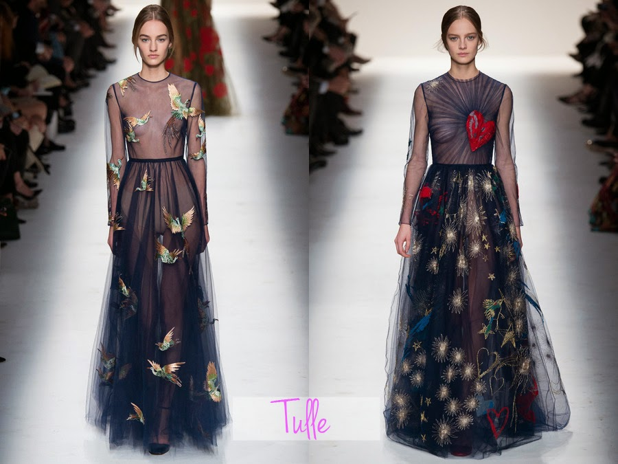 valentino, fall winter, fw, aw, autumn winter, rtw, ready to wear, 2014, designer, fashion blog, fashion review, collection, collection review, valentino fashion, womens fashion, tulle, starry night, star dress, sheer, birds