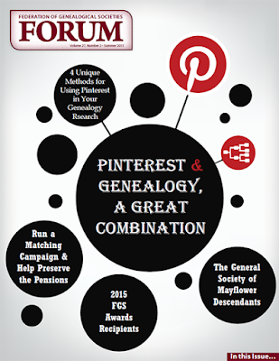 Latest FORUM Issue Out: Pinterest & genealogy; ethics & standards and more! via FGS.org