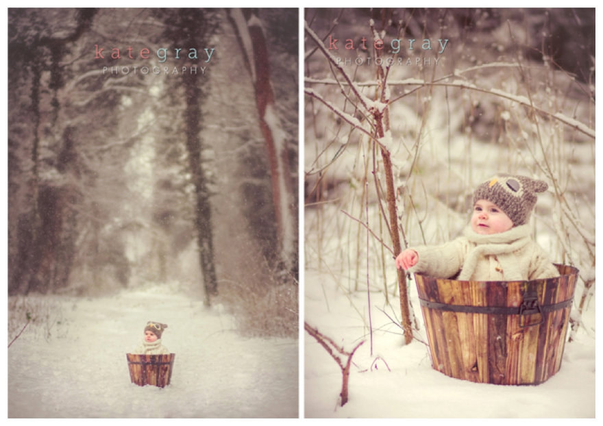 Soft Snowy Baby Portraits By Kate Gray Photography