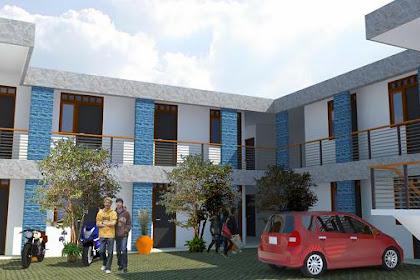 Gambar Desain 3D Kos Kos an Konsep Minimalis fasilitas Parkir Ruang Service