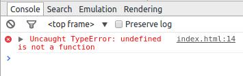 contoh tampilan error pada console google-chrome