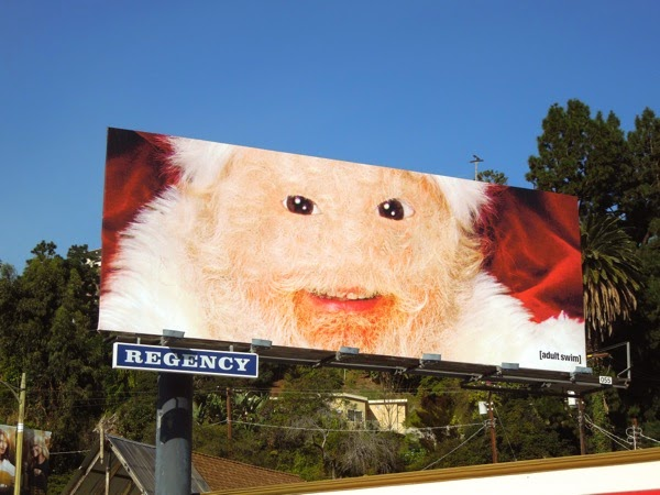 Furry face Adult Swim Santa Claus billboard