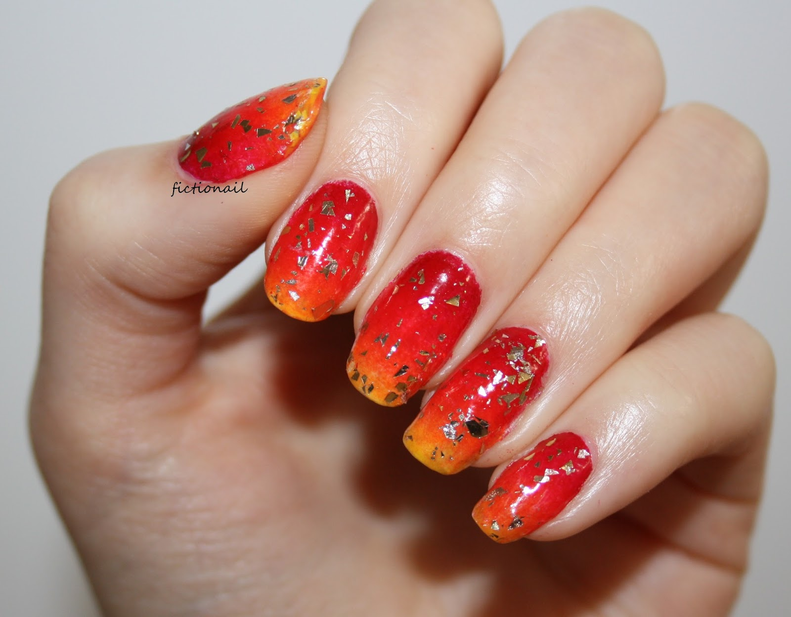 Autumn Glitter Gradient Nails