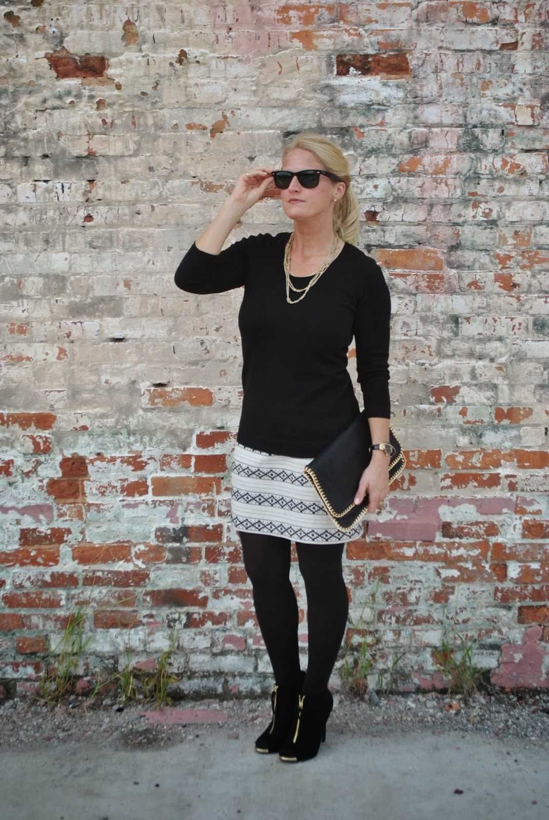 How to style a black and white skirt