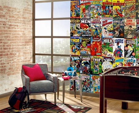 This easy to install and easy to remove comic book cover wall mural would  look great on one wall of a boys comic book room or playroom.