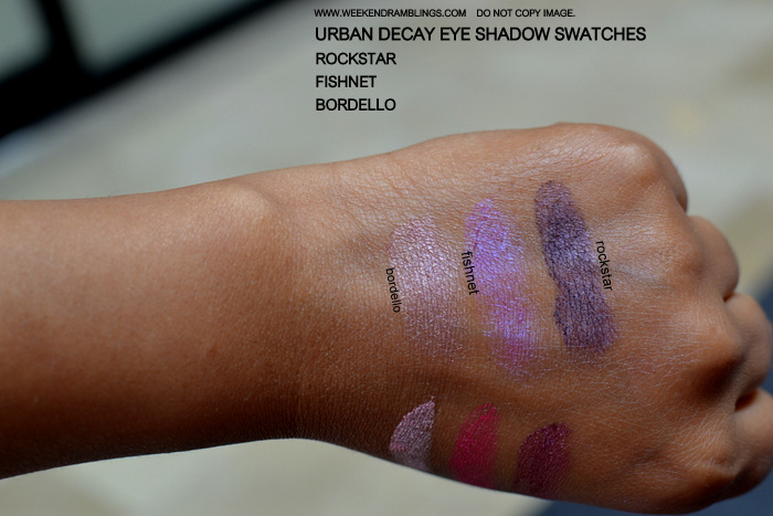 Urban Decay New Purple Plum Pink Eyeshadow Swatches Makeup Beauty Blog Bordello Fishnet Rockstar