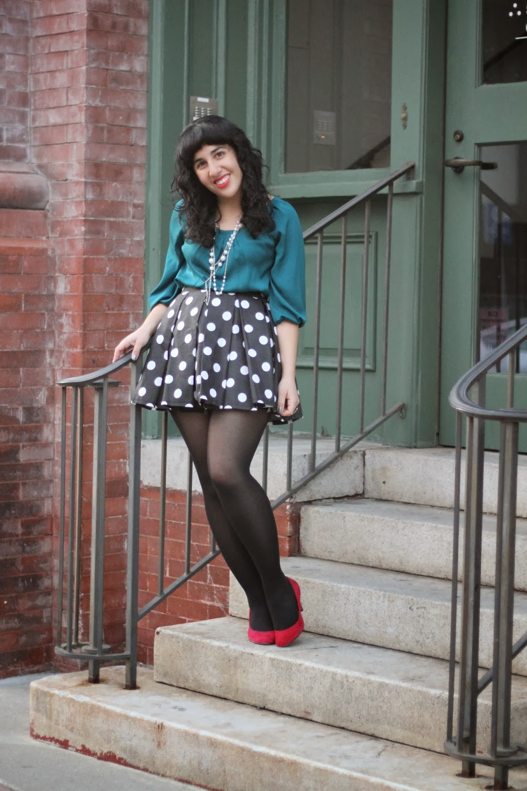 Teal, Polka Dots, and Red