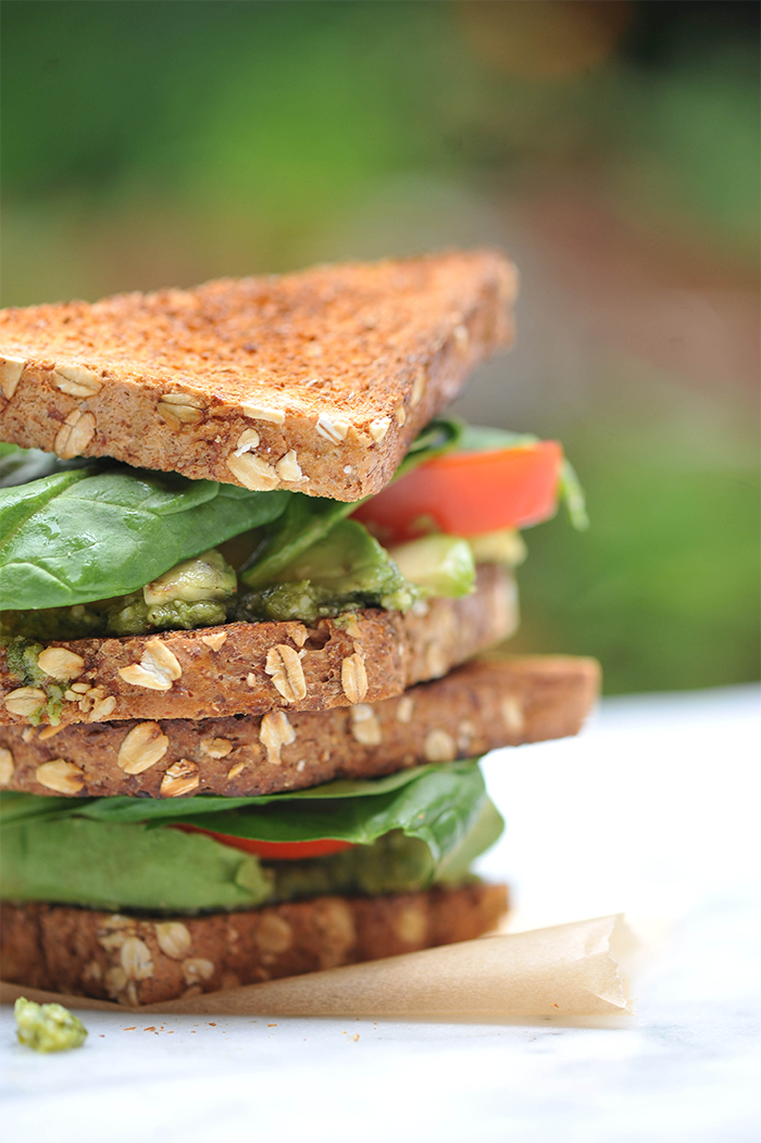 Avocado and Tomato Sandwich Pesto Hummus Vegan Recipe