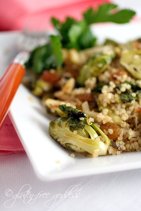 Quinoa with Brussels sprouts and almonds