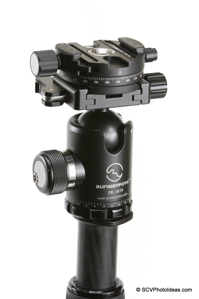 Sunwayfoto DDH-03 clamped on DB-36TRLR ball head via Arca-mount
