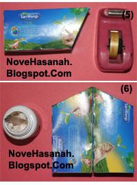cara membuat atau langkah-langkah pembuatan kotak pensil dari bekas kemasan teh celup dan potongan-potongan ornamen kartu undangan 4