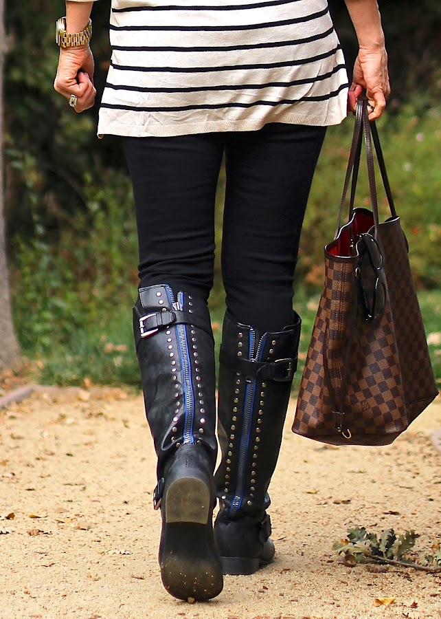 target black studded riding boots