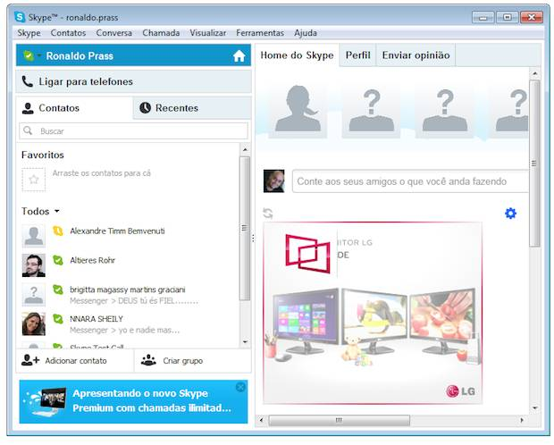 Interface inicial do Skype