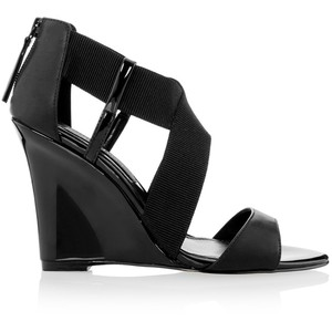 Black Leather Cross Strap Wedges White House Black Market