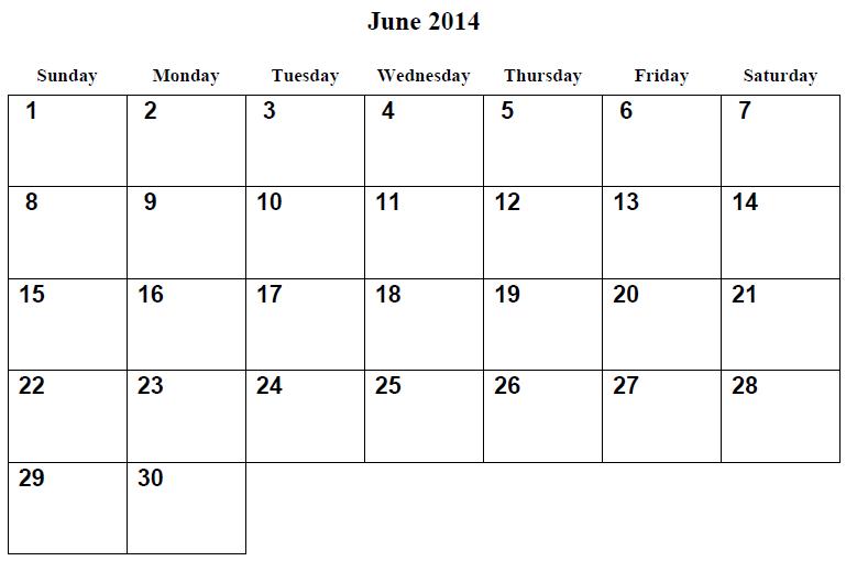 June 2014 Calendar Printable 3 Printable Calendar 2014 Blank