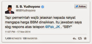 Kicauan Mantan Presiden SBY Soal Kenaikan BBM
