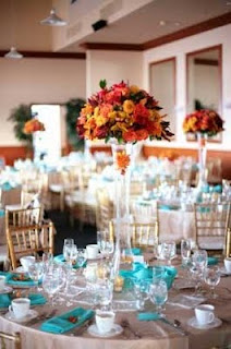 Romantic Tall Fall Wedding Centerpieces