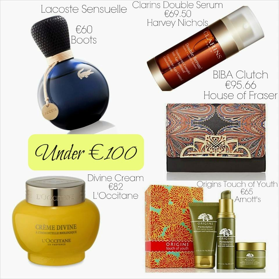 Mothers Day Under €100 - Lacoste Sensuelle - Clarins Double Serum - Origins Touch of Youth Plantscriptions - Loccitane Divine Cream - Biba Clutch