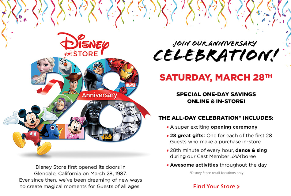 Disney Store Celebrates 28th Anniversary with Special One-Day Savings