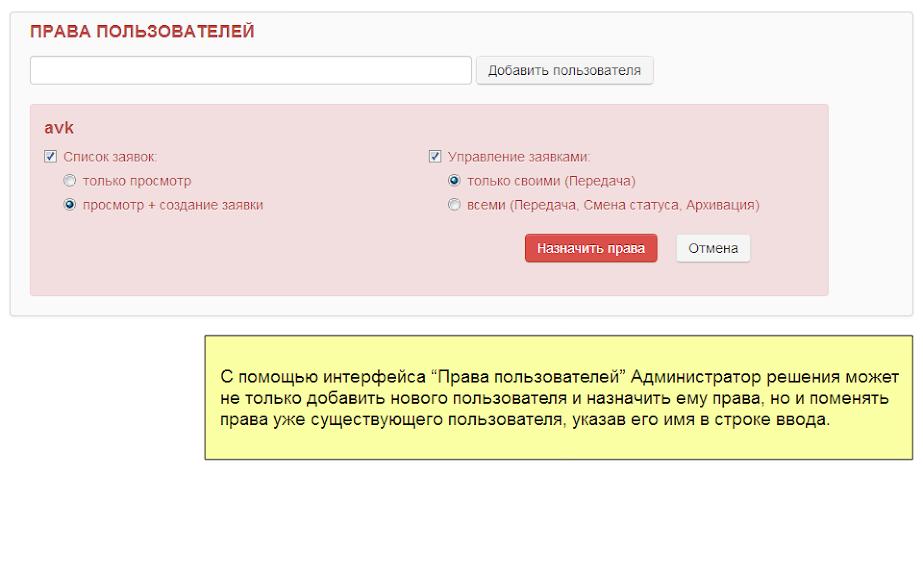 Интерфейс Системы Управления Заявками: Права пользователей