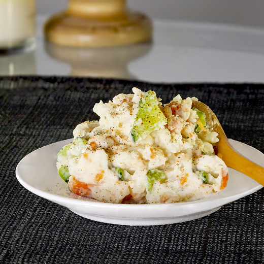 Japanese potato salad with pickled cucumbers and carrots