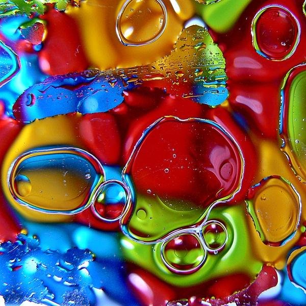 fotografias de bolhas de água e azeite, óleo e água