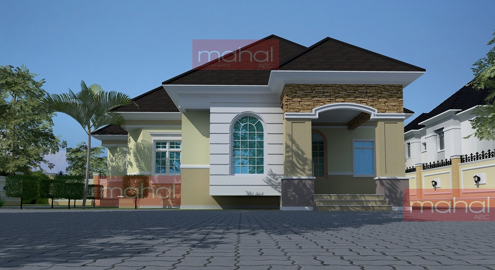 Contemporary Nigerian Residential Architecture Festus House 5 Bedroom Bungalow