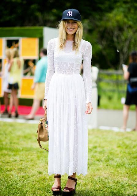 Streetstyle, white dress lace hat cap model paris festival trend