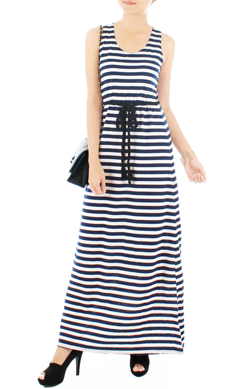 All-nighter Stripe Maxi Dress with Rope Belt