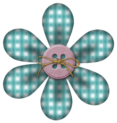 Free Teal Plaid Strawberry Coco Digi Scrapbook Flower from Kit 40