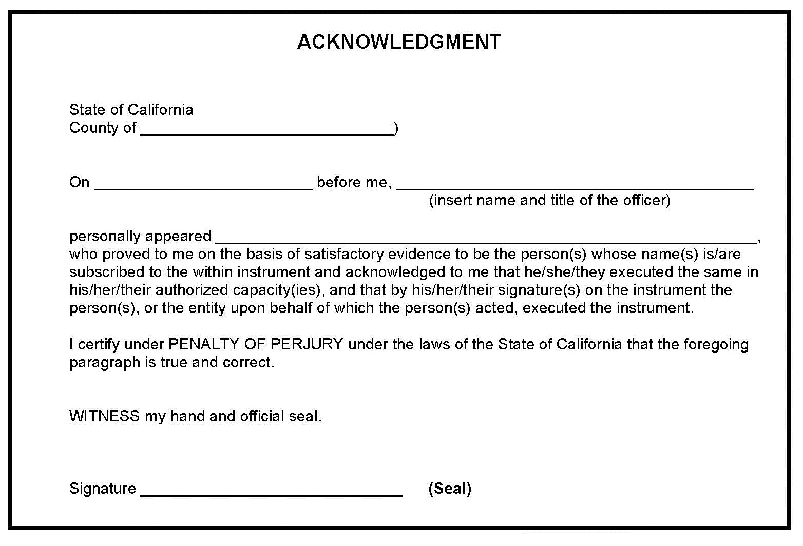 sample notary statement