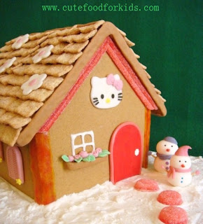 Hello Kitty Christmas gingerbread house cake treat