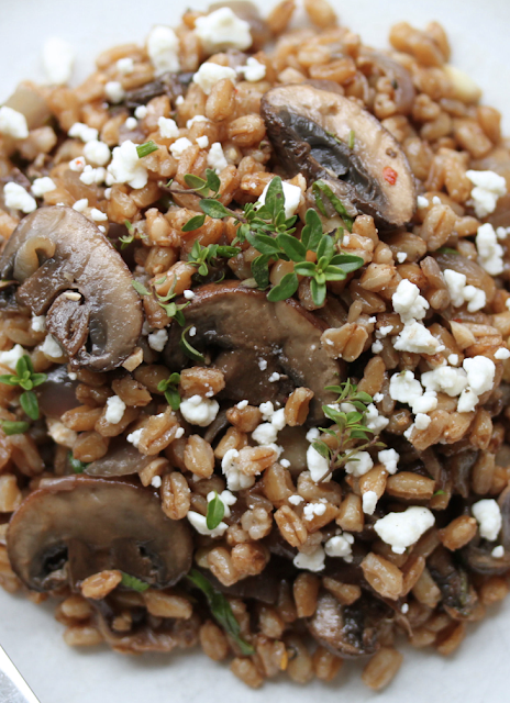 Scrumpdillyicious: Farro Salad with Mushrooms, Chèvre and Thyme