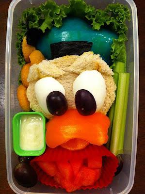 comida que forma la cara del pato donald