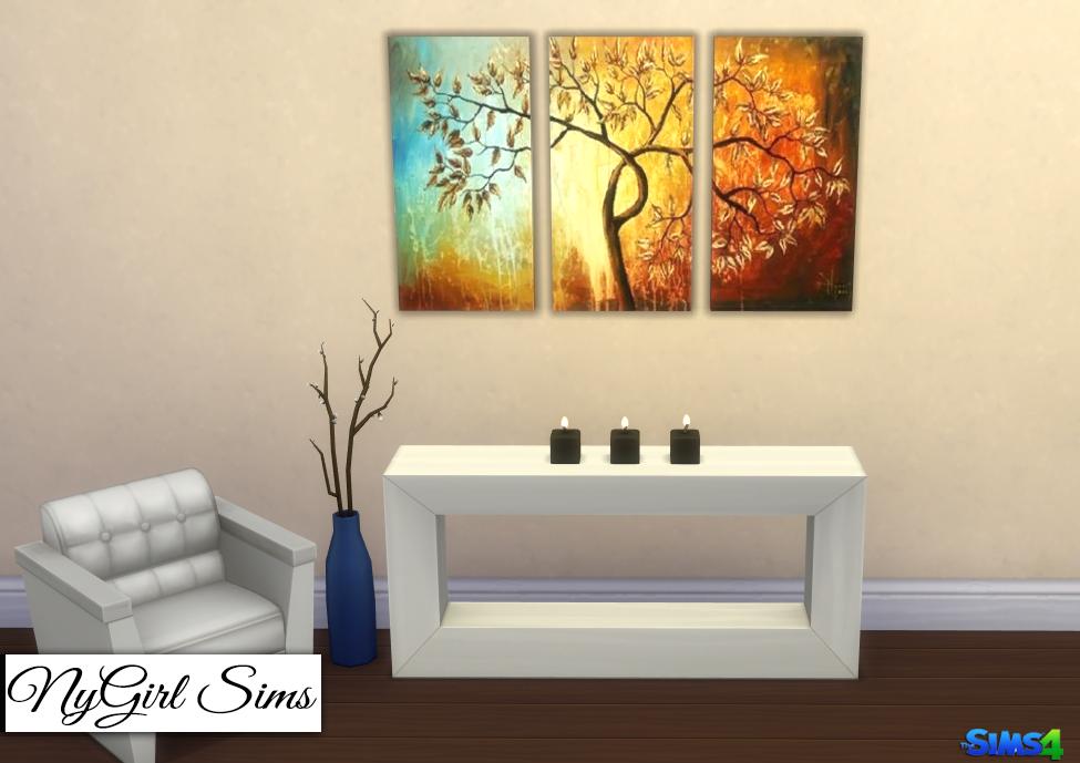nygirl sims 4 modern tree 3 piece canvas art. Black Bedroom Furniture Sets. Home Design Ideas