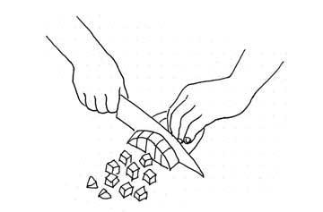 cutting potato by Yukié Matsushita