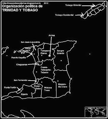 TRINIDAD Y TOBAGO, Mapa de la organización política de TRINIDAD Y TOBAGO, nombre de las regiones, blanco y negro