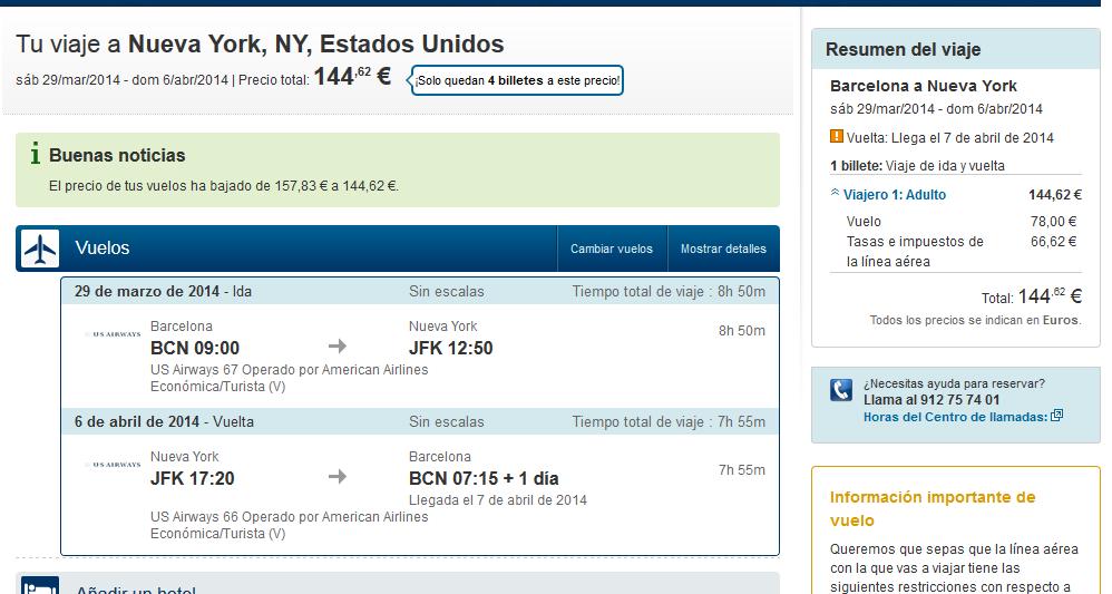 Expedia vuelo a Nueva York