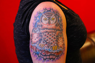 owl, owl tattoo, womans tattoo, girls tattoo, pinterest, cincinnati, cincinnati tattoo, nightshade ink, nightshade ink tattoo, best tattoo artist in cincinnati, color tattoo,