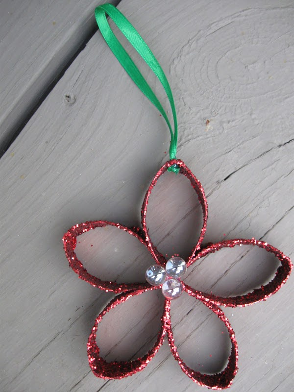 Craft klatch christmas flower ornament recycling craft for How to make recycled paper crafts