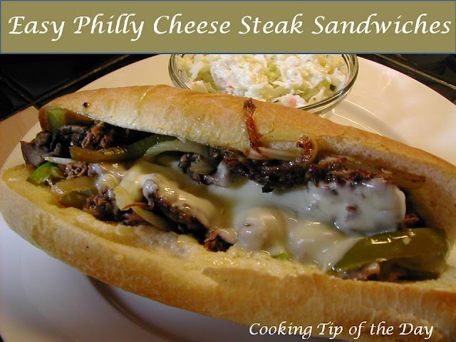 Cooking Tip of the Day: Easy Philly Cheese Steak Sandwiches