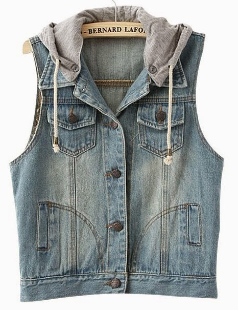 VONFON WOMEN'S SLEEVELESS HOODIE BLEACHED DENIM VEST JACKET - LIGHT BLUE