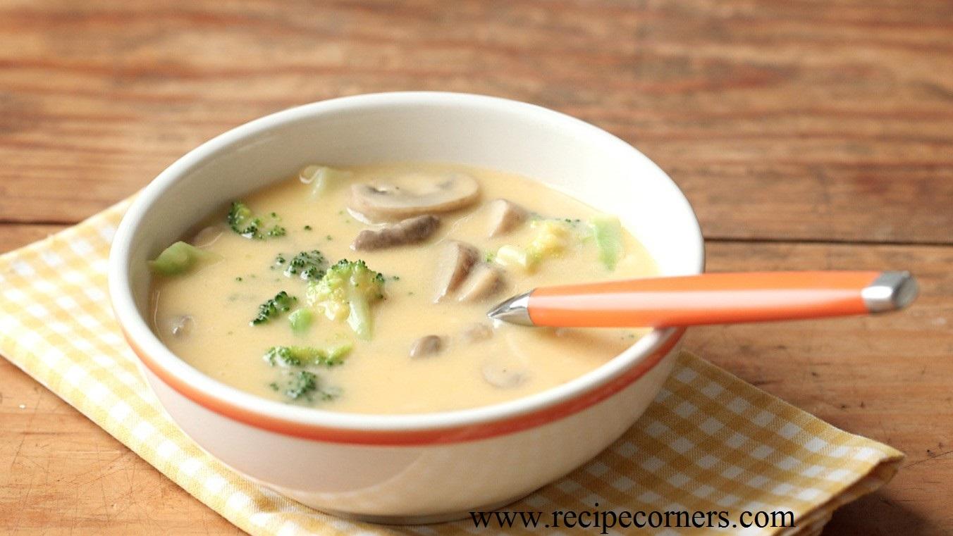 Суп с шампиньонами и твердым сыром рецепт
