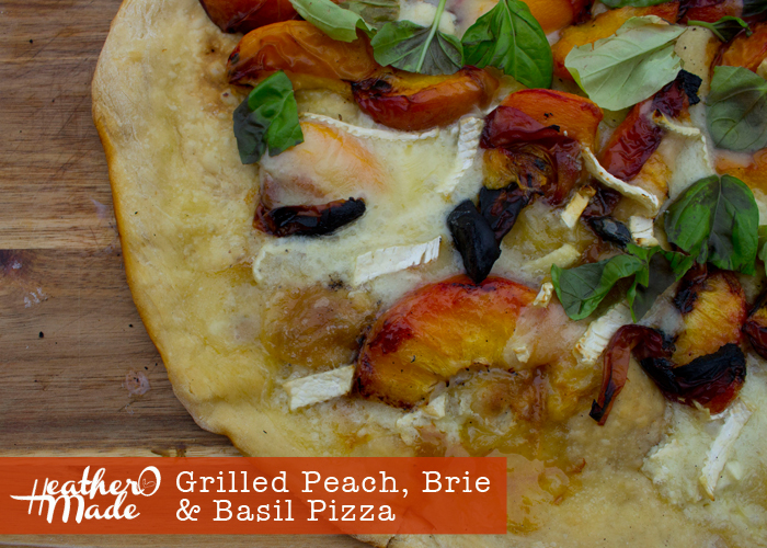 grilled peach, brie, basil pizza recipe